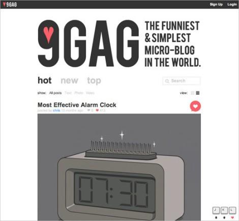 9GAG é uma rede social de compartilhamento de imagens. Usuários ou clientes podem ir para a imagem anterior e a próxima usando as teclas k e j respectivamente, ou usando o scroll do mouse.