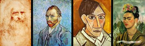 Da esquerda para a direita. 1. Autorretrato, c. 1512, Da Vinci; 2. Autorretrato, 1889, Vincent Van Gogh; 3. Autorretrato, 1907, Pablo Picasso; 4. Autorretrato dedicado ao Dr. Eloesser, 1940, Frida Kahlo.