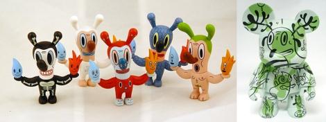 Bonecos de toy art criados pelo artista, em vinil.