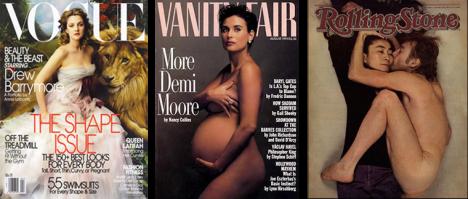 Capas que marcaram a época: Drew Barrymore ao lado de um leão (para o ensaio Beauty and the Beast), Demi Moore grávida e nua, John Lennon e Yoko Ono (fotografados horas antes de Lennon ser assassinado).