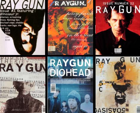 Capas da revista Ray Gun por David Carson (primeira linha) e Chris Asworth (segunda linha).