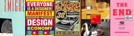 Capas da Emigre. A revista foi pioneira em desktop publishing.