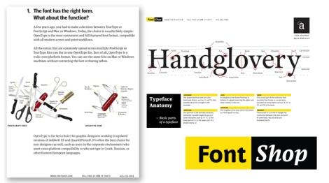Type Face Anatomy e Type Face Selection, da Font Shop.