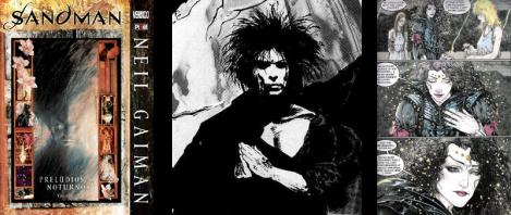 1. Capa de Prelúdios e Noturnos; 2. Sonho idealizado por Mike Dringenberg & Malcolm Jones III; 3. Página da série.
