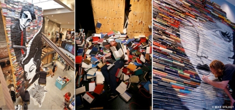 "1. Instalação feita com tinta acrílica sobre 4000 livros em uma loja de Laguna Beach chamada Nike Hurley. Junho de 2010, Mike Stilkey. 2. Slightly all the time ""The Aftermath"", Kinsey/DesForges Gallery, 2008, foto de Dave Kinsey. 3. When the Animals Rebel, Rice University Art Gallery Photo: Nash Baker."