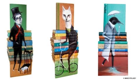 1. Escultura feita com 11 livros, intitulada Enemy in the House, de 2009. 2. Escultura feita com 12 livros, Six Ways to Get a Job, de 2009. 3. Escultura feita com 8 livros, Far From Customary Skies, de 2010.