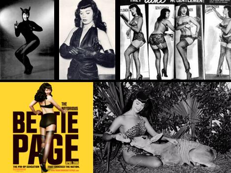 Em amarelo, o poster do longa que 'conta' a vida de Bettie Page, e uma coletânea de imagens da pin-up.