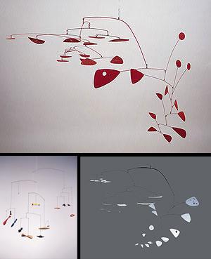 1. Sumac II, 1952; 2. Constellation Mobile, 1943; 3. International Mobile, 1949, de Alexander Calder.