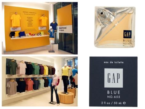 Loja da Gap em Nova York com o conceito da marca Pantone aplicado às suas roupas. O perfume Blue n 655 — o nome do perfume é o mesmo nome do azul pantone da identidade da Gap.