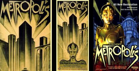 A tipografia do filme Metropolis, 1927, de Fritz Lang e a versão restaurada, que manteve a face tipográfica mas acrescentou cor.