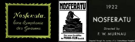 Título principal na versão alemã original, cartaz de divulgação com estética art noveau da época e oO título sem serifa de uma versão restaurada do clássico do horror Nosferatu. A fonte do cartaz, Berthold Herold Reklameschrift BQ (na versão digital), foi criada pelo alemão Heinz Hoffman em 1904.