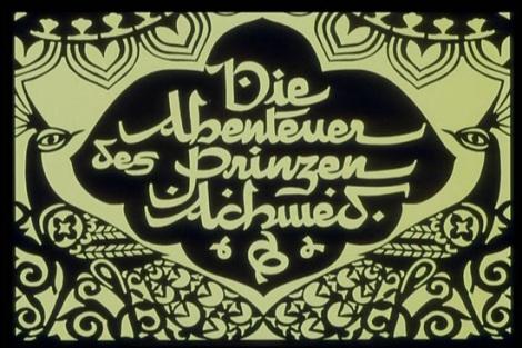 Still do título do mais antigo longa metragem de animação, chamado As aventuras do Príncipe Achmed, (Die Abenteuer des Prinzen Achmed) do animador alemão Lotte Reiniger.