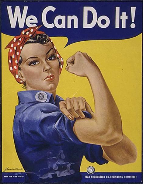 Cartaz convida americanas a trocarem o trabalho doméstico por fábricas enquanto os homens lutavam na guerra.