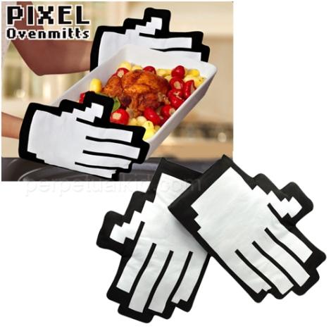 Luva Pixel Oven Mitts, para os amantes do mundo virtual.
