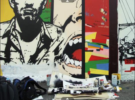 """Em 27 de março é comemorado o Dia do Grafite, data instituída a fim de homenagear Alex Vallauri (1949-1987), artista precursor de uma das expressões do grafite no Brasil, a arte estêncil. Entre as exposições e ações que ocorrem por conta do dia está a exposição """"Elemento Vazado"""", em São Paulo. Acima, obra que está na mostra, de autoria de Daniel Melim."""