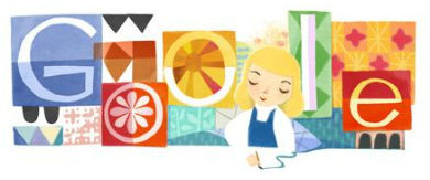 Doodle homenageando a desenhista Mary Blair.