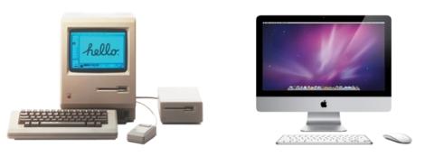 O Apple Macintosh de 1984 (à esquerda) foi revolucionário: popularizou a interface gráfica. Hoje, os computadores pessoais da Apple (à direita) são um item de desejo para muitas pessoas.