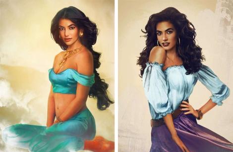 A princesa Jasmine (de Aladin) e a Cigana Esmeralda (Corcunda de Notre Dame), por Jirka Vaatainen.